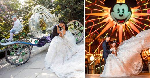 Esta pareja alquiló Disneyland para celebrar su boda; cada detalle parece haber salido de un cuento de hadas