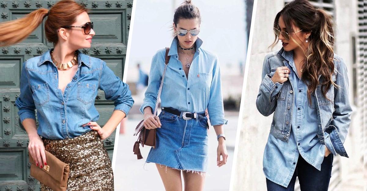 d946aa27f6 20 Ideas de look que te harán robarle a tu novio una camisa de mezclilla hoy