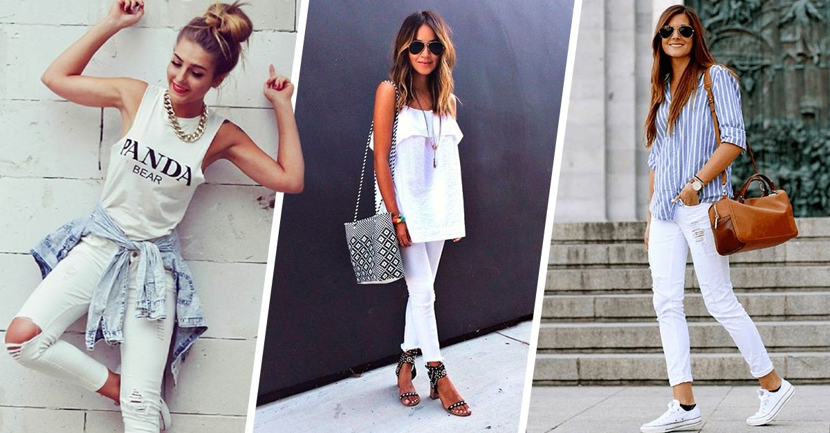 diferentes blanco con pantalon blanco