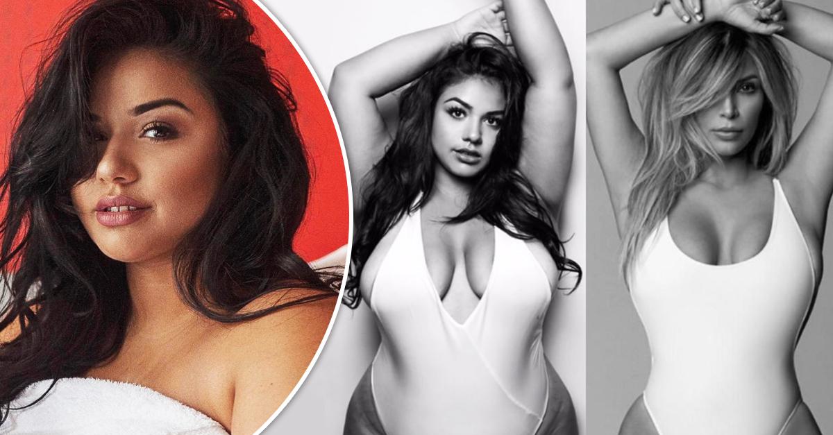 Modelo plus size recrea las fotos de Kim Kardashian en un bañador blanco; es hermosa