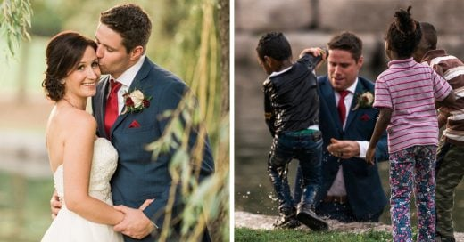 Este novio hacía las fotos de su boda cuando rescató a un niño que se ahogaba en el lago