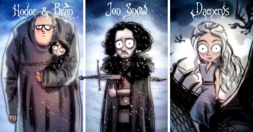 personajes de Game of Thrones si hubieran sido creados por Tim Burton
