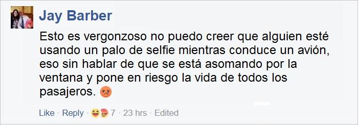 comentarios en Facebook sobre selfies