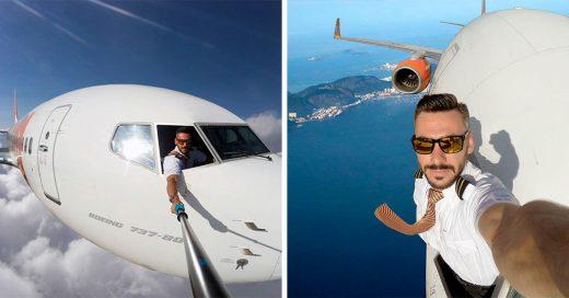 Las peligrosas selfies de este piloto han causado revuelo en Internet; Parece que todo fue una farsa