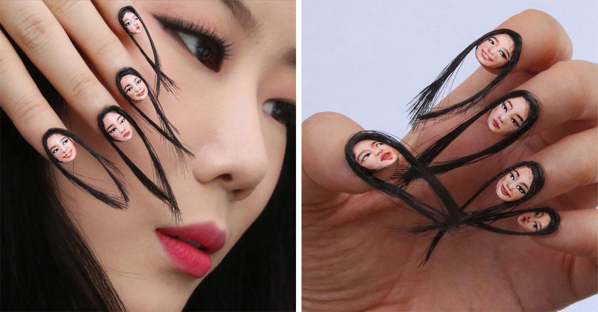 Estas uñas con cabello y rostro te harán sentir escalofríos