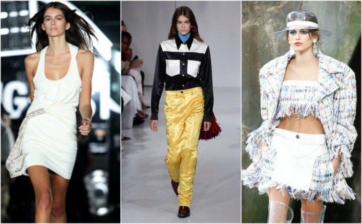 Kaia Gerber en pasarelas de las Fashion Week