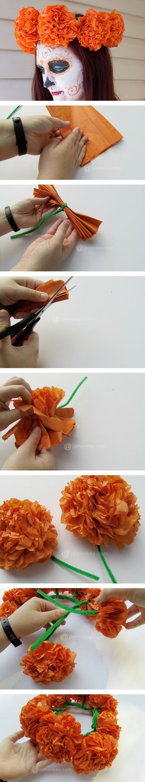 corona de cempasúchil de papel