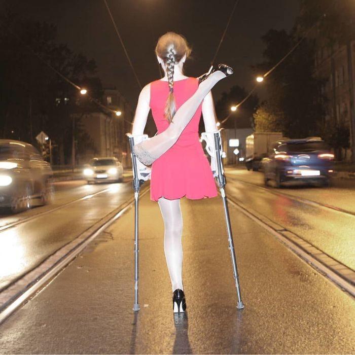 disfraz de chica sin pierna