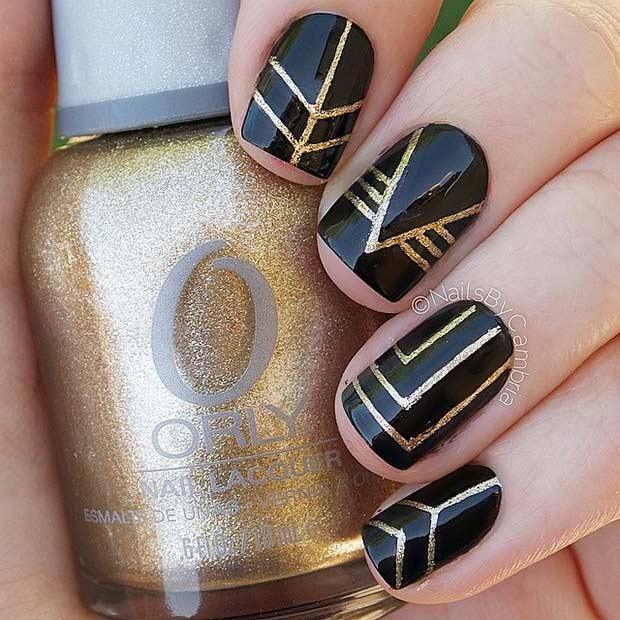 - 25 Edgy Black Nail Designs Black Nails, Runes And Gold