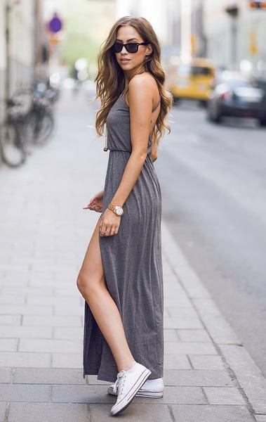 maxi vestido con converse