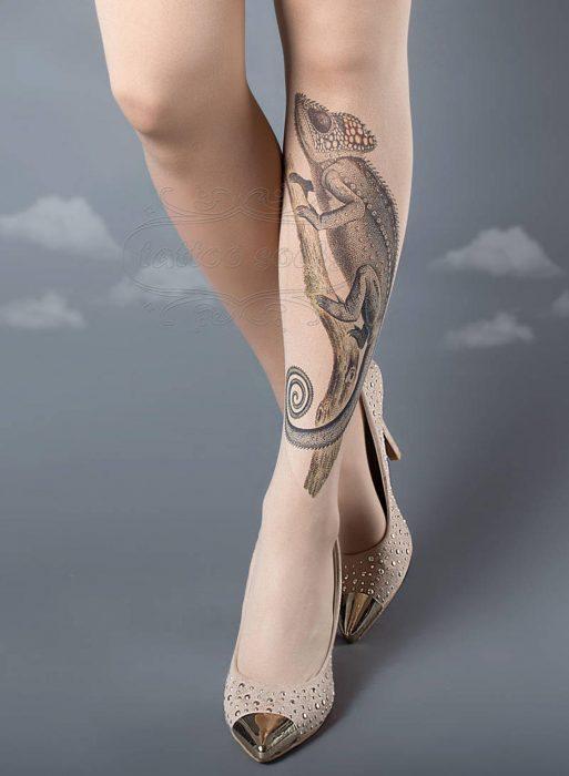 medias tatuaje de camaleon