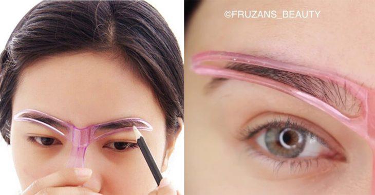 aparato en forma de T para maquillar cejas