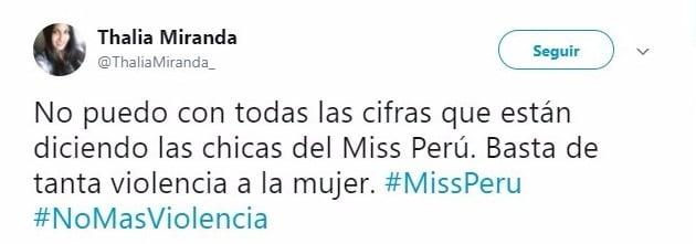 Twit sobre Miss Perú 2917