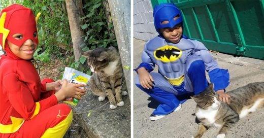 Este niño de 5 años se ha convertido en Catman, al salvar gatos callejeros