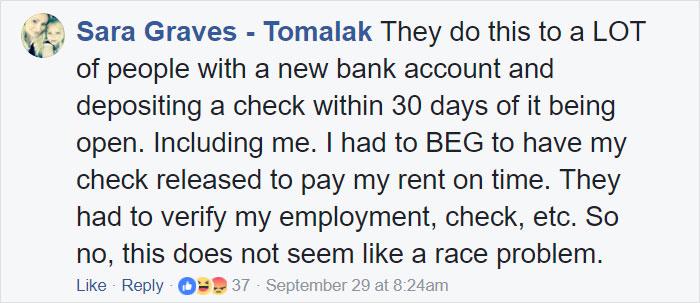 Comentarios en facebook sobre la discriminación que una chica de color vivió en un banco
