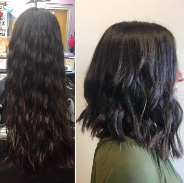 chica con nuevo corte de cabello