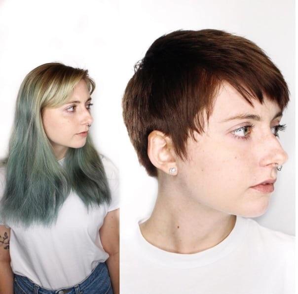chica con cabello de color verde