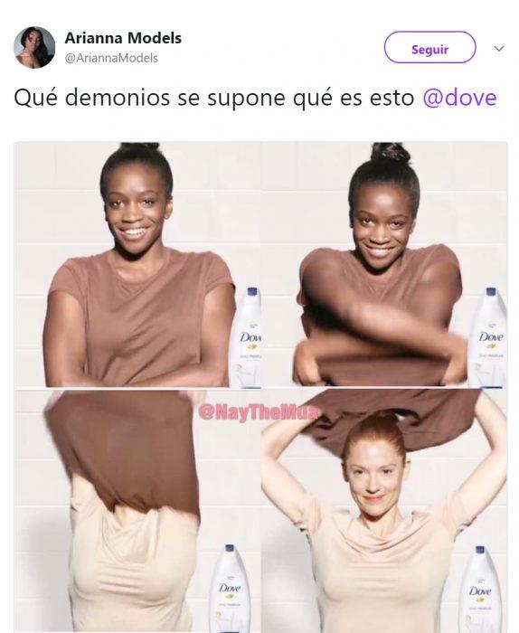 Comentarios en twitter sobre el comercial racista de Dove