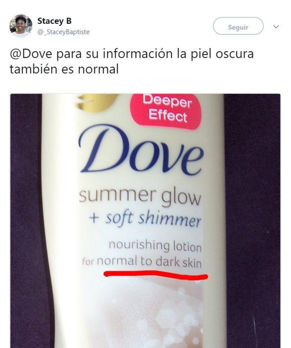 Comentarios en twitter sobre el anuncio racista de Dove