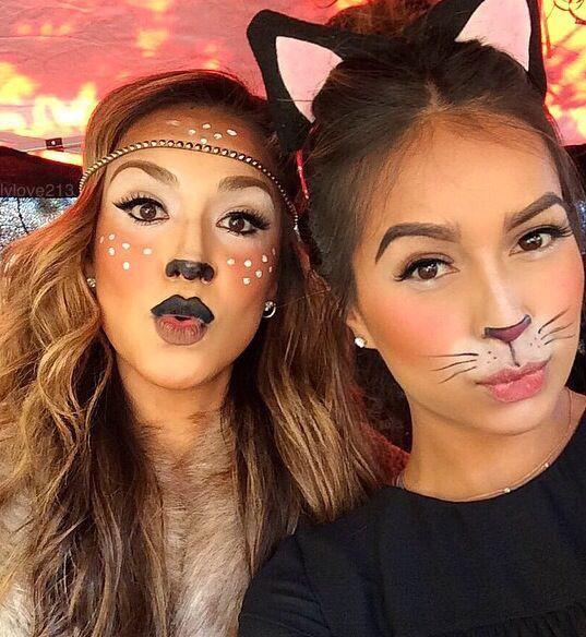 chicas maquilladas como gatos