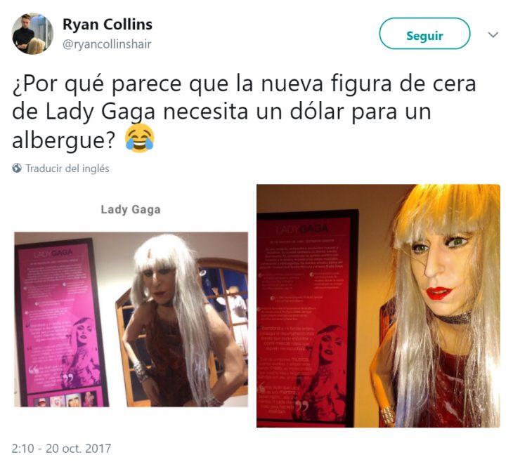 Comentarios en Twitter sobre la figura de cera de lady gaga en Perú