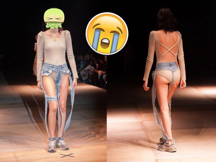 Presentan en pasarelas de moda los nuevos jeans de tanga