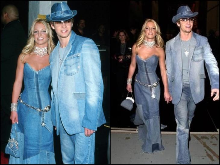 Britney spears y Justin Timberlake vestidos con mezclilla