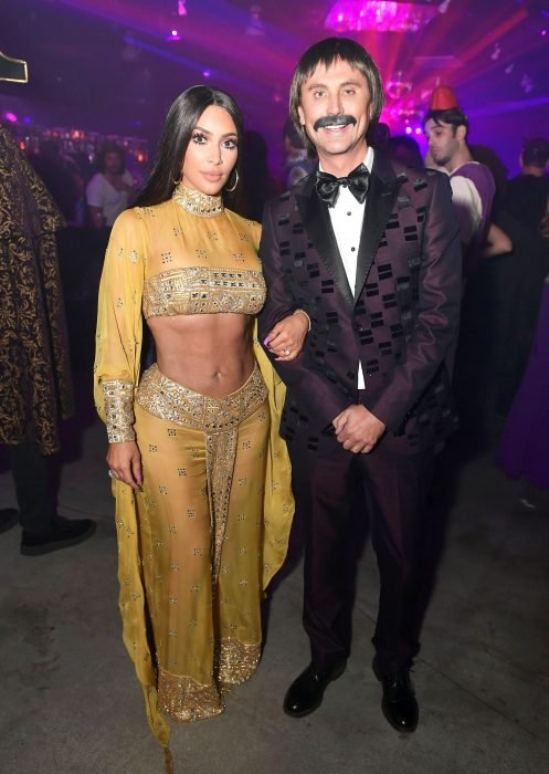 Kim Kardashian West and Jonathan Cheban as Sonny and Cher at the Casamigos Halloween Party