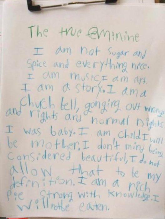 Niña escribe carta sobre el feminismo