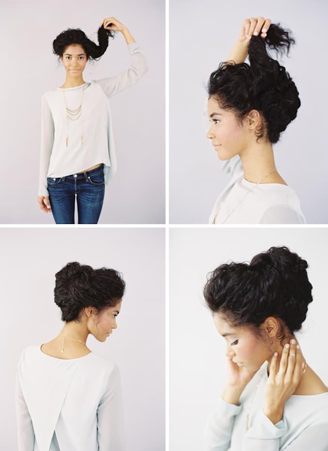 Peinados recogidos en cabello ondulado