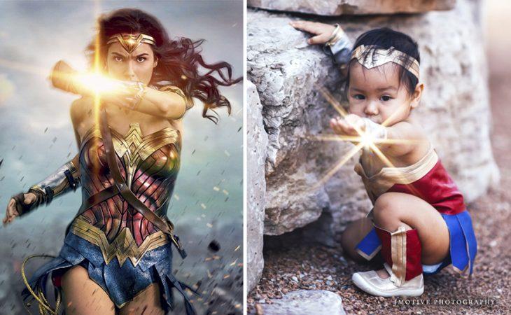 niña vestida de Mujer Maravilla