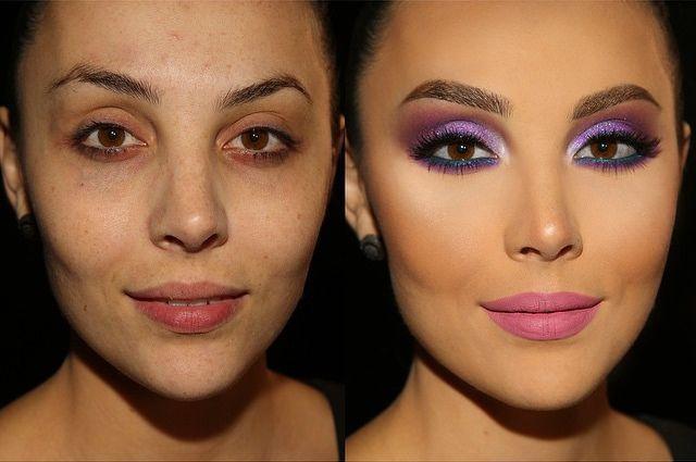 chica maquillada antes y desúés