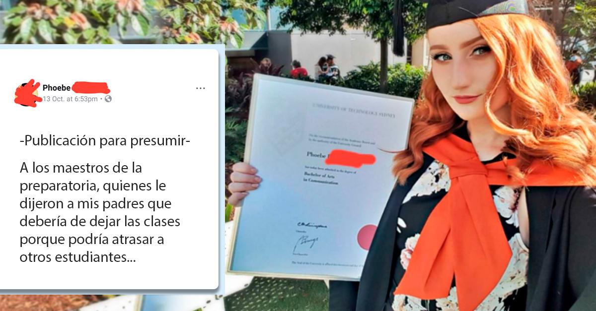 Una chica con dislexia logra graduarse de la universidad y envía este mensaje a quienes la llamaron estúpida