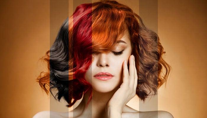 chica con diferentes colores de cabello