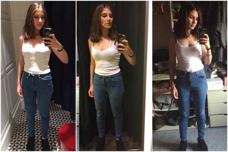 chica usando la misma ropa varios días