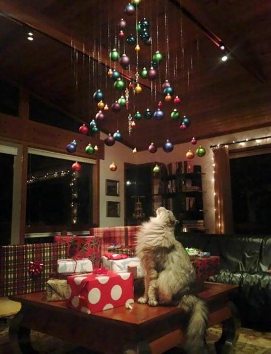 esferas de navidad colgadas en el techo