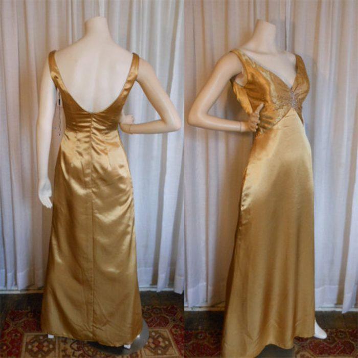 vestido dorado de satin