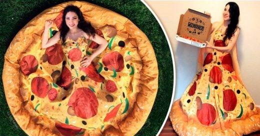 Mujer se convierte en en la reina de la pizza gracias a su vestido