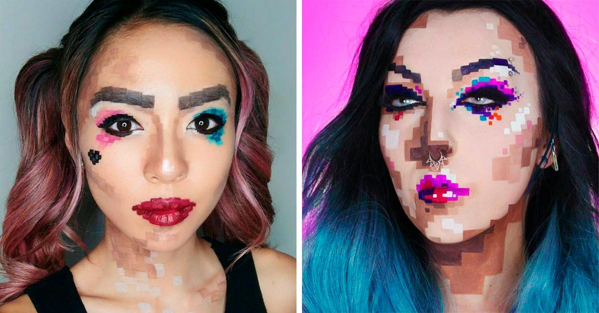 Este maquillaje de píxeles es todo lo que necesitas usar en Halloween
