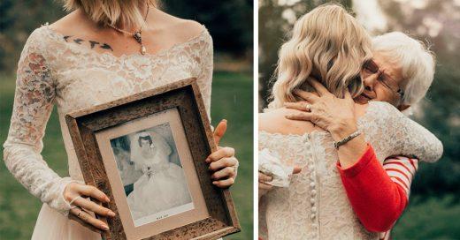 Esta novia sorprendió a su abuela al usar su vestido de boda de 1962; su reacción fue de lo más adorable