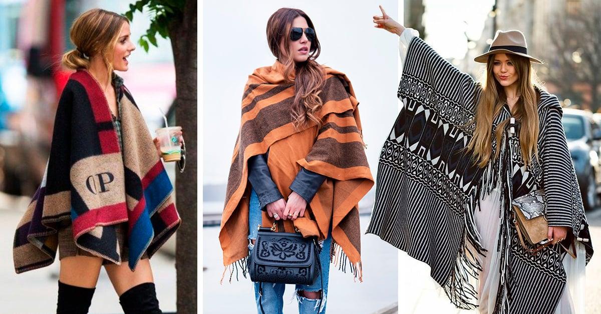 15 outfits con los que te inspirarás a usar un poncho en invierno