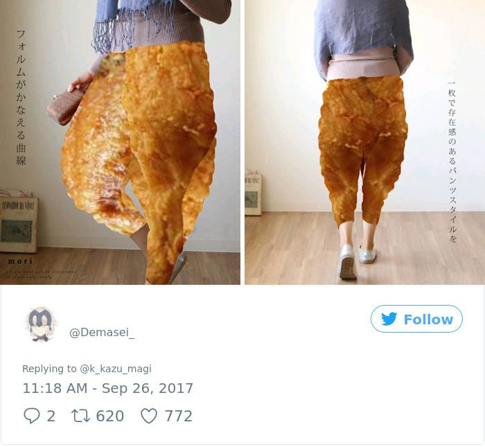 tuits pollo frito pantalones