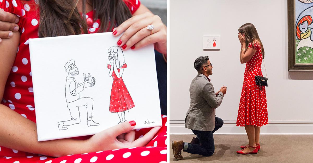 Este chico colgó su pintura junto a las de Picasso para proponerle matrimonio a su novia