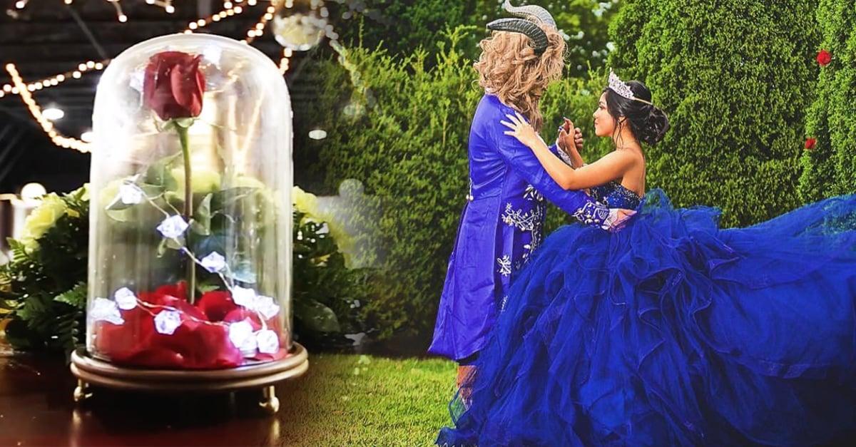 Esta chica cumplió su sueño y pidió sus quince con el tema de La Bella y La Bestia