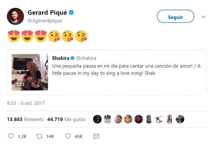 Publicación en twitter de piqué a shakira