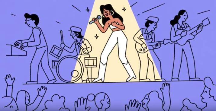 ilustración de selena quintanilla cantando y banda