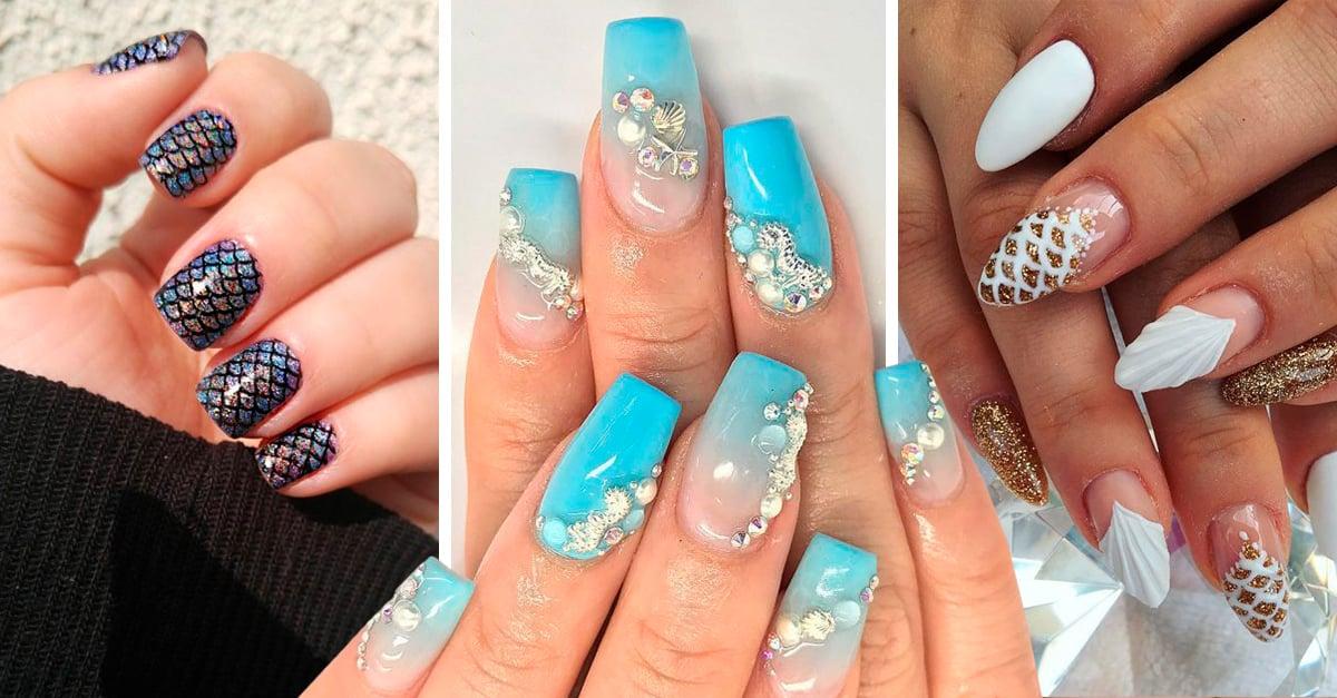 20 Estilos para decorar tus uñas de sirena para que seas toda una diosa marina