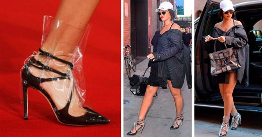 Rihanna causó revuelo con sus zapatillas cubiertas de plástico