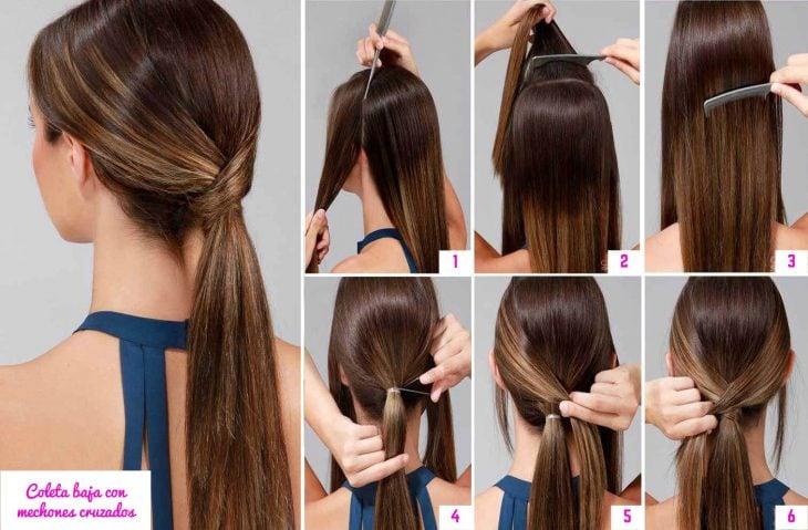 cola de cabello cruzada