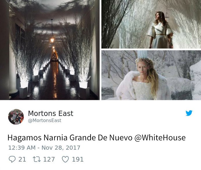 Melania Trump decoración trol